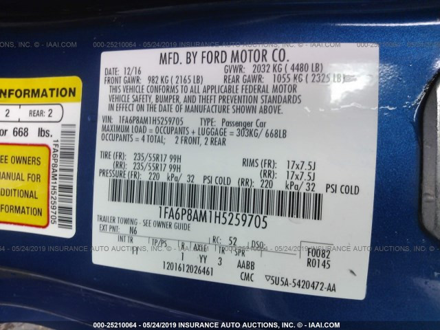 2017 Ford  | Vin: 1FA6P8AM1H5259705