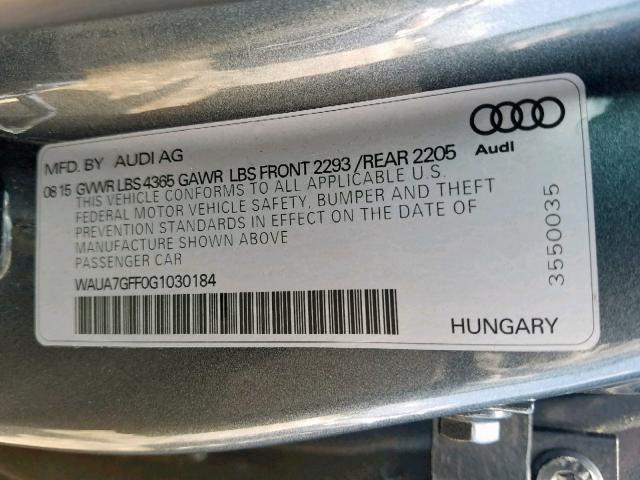 2016 Audi A3 PREMIUM | Vin: WAUA7GFF0G1******