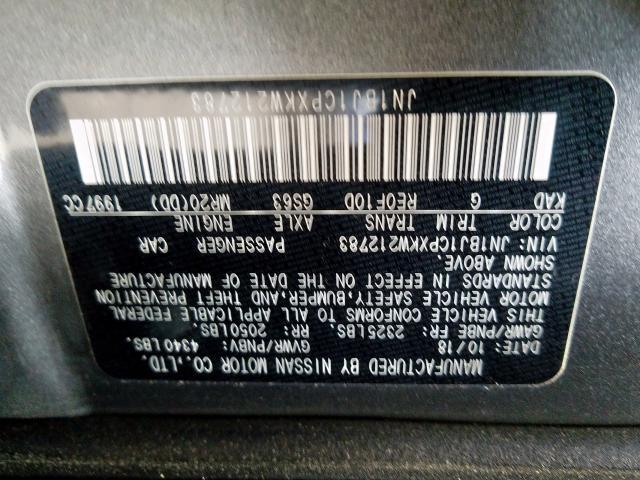 2019 Nissan ROGUE SPOR   Vin: JN1BJ1CPXKW212783